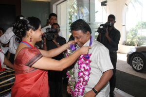 Welcoming the Chief Guest Hon. Minister Dullas Alahapperuma