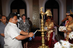 Lighting of the traditional oil lamp