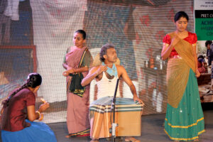 A scene from the docudrama _Deluge_ performed by the theatre group Mathra